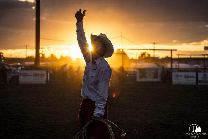 Montana rodeo clown at sunset.