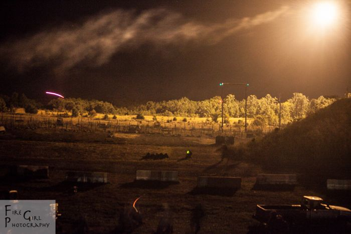 The night infiltration course, seen from the light of a flare.