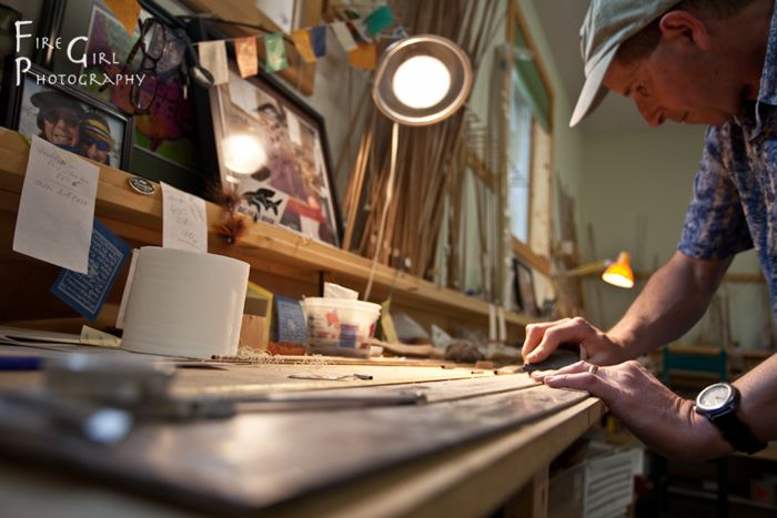 Dave Delisi works his magic in Sweetgrass Rod's workshop. Twin Bridges, Montana.