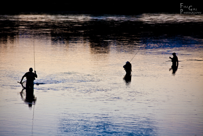Three Frenchmen take advantage of the day's last light. Missouri River, Montana.