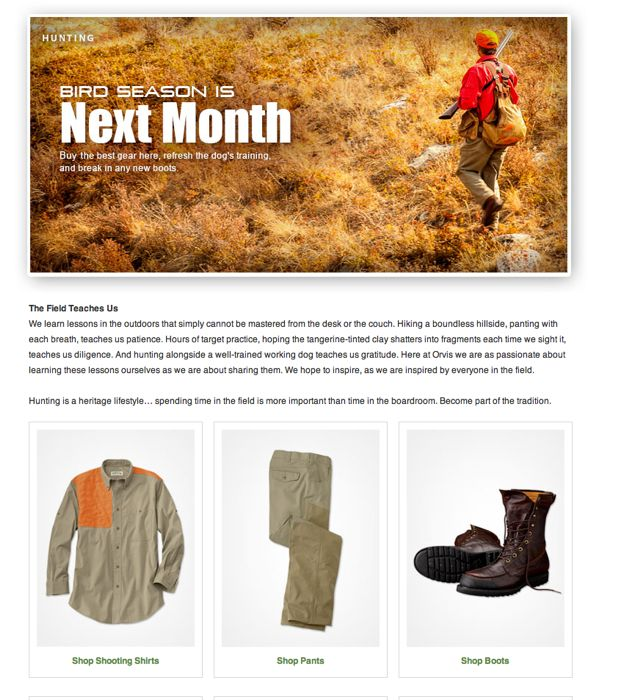 Introductory copy for the hunting section on the Orvis website.