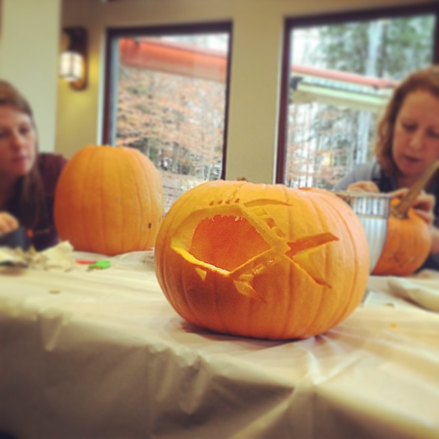 Orvis Creative Services pumpkin carving. Guess which one belongs to the fishing/hunting writer?