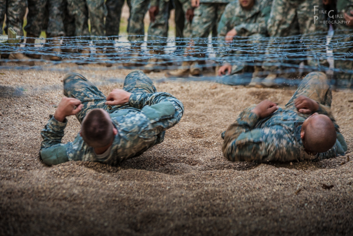 US Army recruits in training on the confidence obstacle course. Fort Leonard Wood, Missouri.
