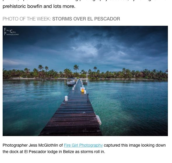 Featured image in Hatch Magazine email. El Pescador Lodge, Belize dock.
