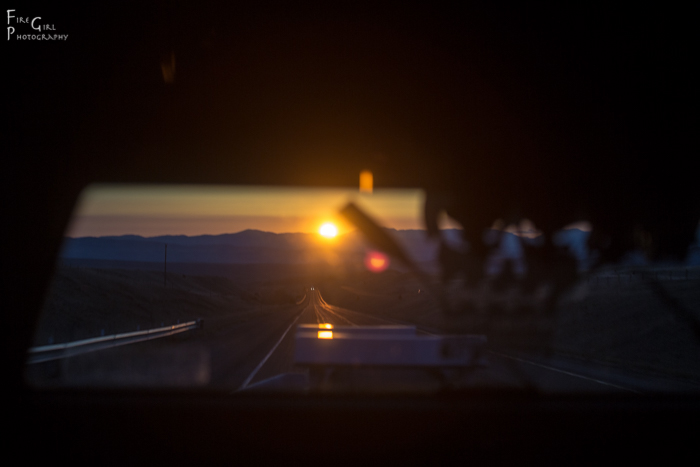 Dawn on the road.