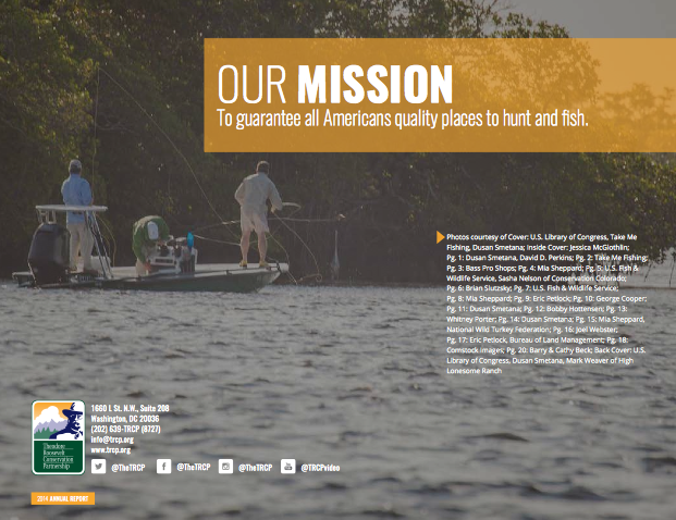 Inside front cover, TRCP 2014 Annual Report. Fishing off Sanibel, FL.
