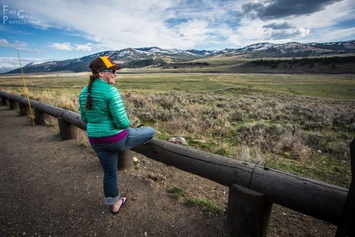 Photo assistant Jenny Madsen enjoying a rare moment of down time in the Lamar Valley, Yellowstone.