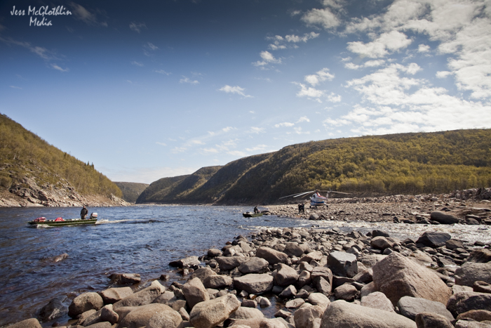 Modes of travel: transferring supplies into Brevyeni Camp. Ponoi River, Kola Peninsula, Russia.